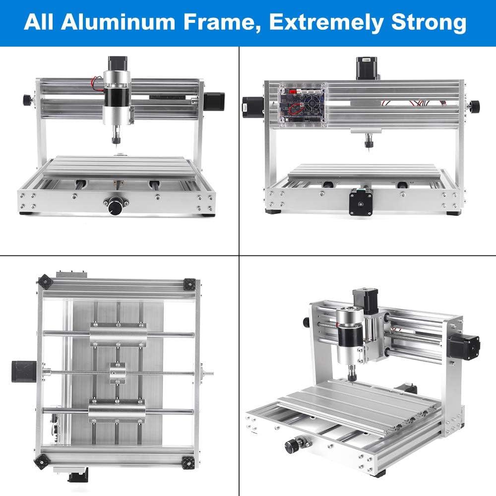 Upgrade CNC 3018 Pro MAX Graviermaschine mit 200W Spindel Yofuly All Aluminium Frame 3-Achsen-Leiterplatte PVC-Fr/äsgraveur mit Verl/ängerungsstange ER11 Spannzange PCB-beschichteter Fr/äser Set