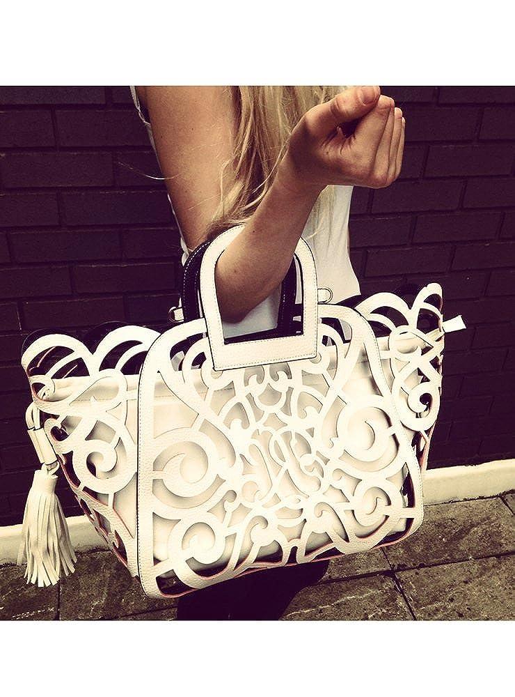 8353c8b24 White Laser Cut Tote Bag - One Size: Amazon.co.uk: Clothing