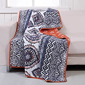 Boho Chic Moroccan Paisley Pattern Grey Orange Cotton Quilt Throw Blanket - Includes Bed Sheet Straps