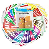 Complete Moving Label Kit - Large Color Coded Moving Labels, Color Chart and Room Signs to Organize & Prioritize Boxes, Size 4'' x 3.33''