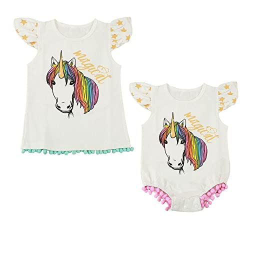 36031f2ed63a Infant Baby Toddler Girls Pony Cartoon Romper T-Shirt Sisters Matching Tops  (2-