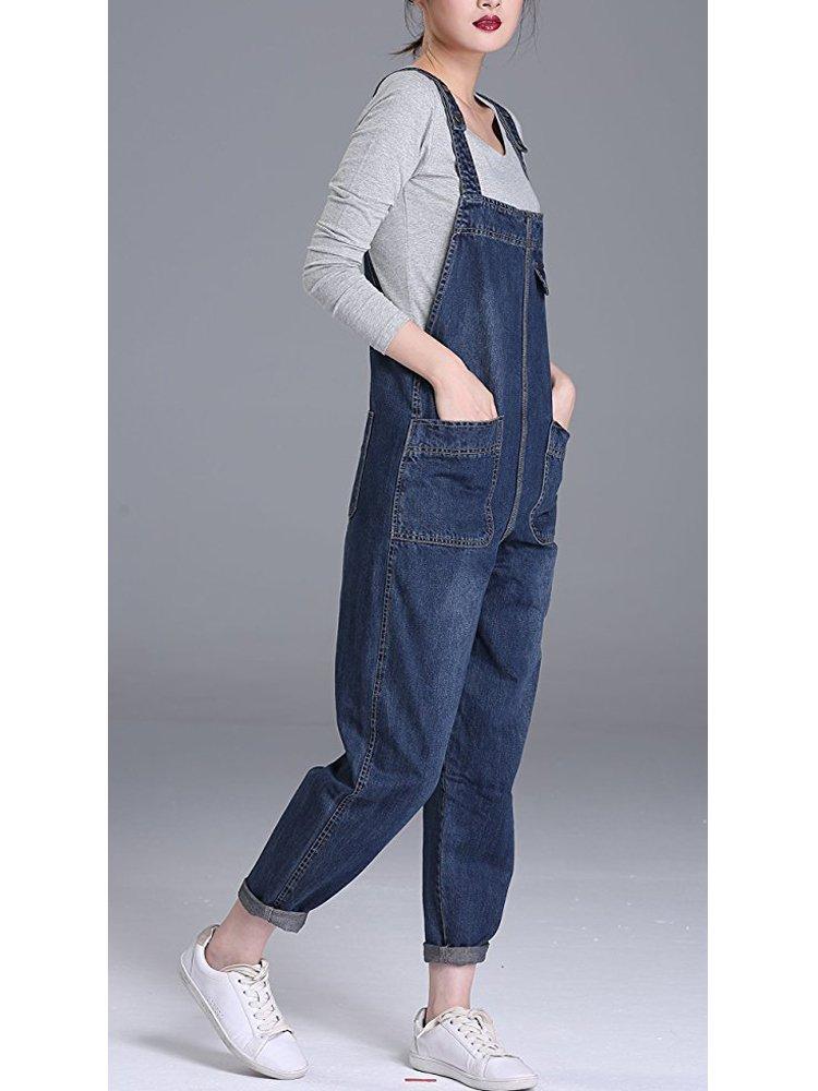 e72f6bbb610c Sobrisah Women s Casual Baggy Fit Denim Bib Cropped Harem Romper Jumpsuit  Pants Overalls Trousers Pockets