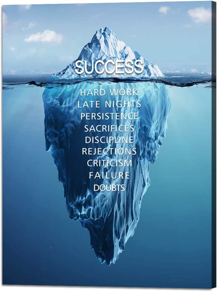 Yatsen Bridge Iceberg Success Canvas Quotes Wall Art Inspiration Motivation Poster Stretched Gallery Wraps Giclee Print Framed Ready to Hang for Office and Home Decor 30''W x 40''H