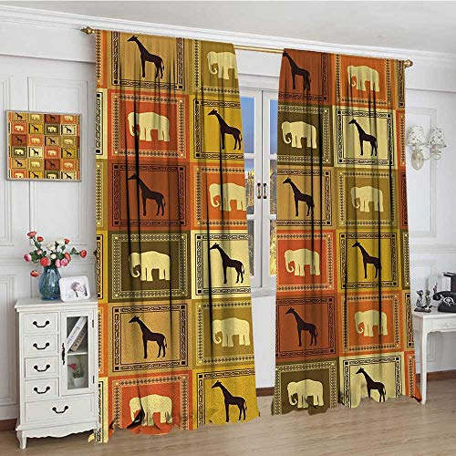 Vintage African Glass - smallbeefly Safari Thermal Insulating Blackout Curtain African Animals Pattern Silhouette Exotic Fauna Frame Vintage Illustration Patterned Drape For Glass Door 72