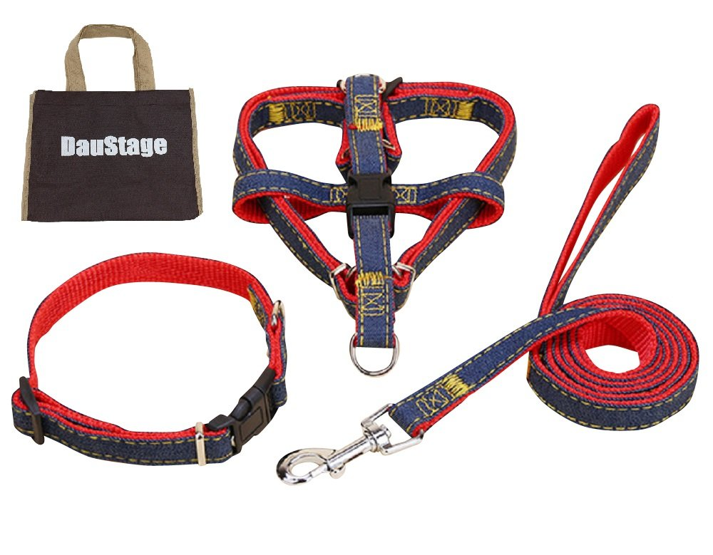 Daustage Harness Leash Collar Set, Denim Material, 4 colors to Choose from, 4 Sizes Small Medium Large for Dogs, Tote Bag Included, red