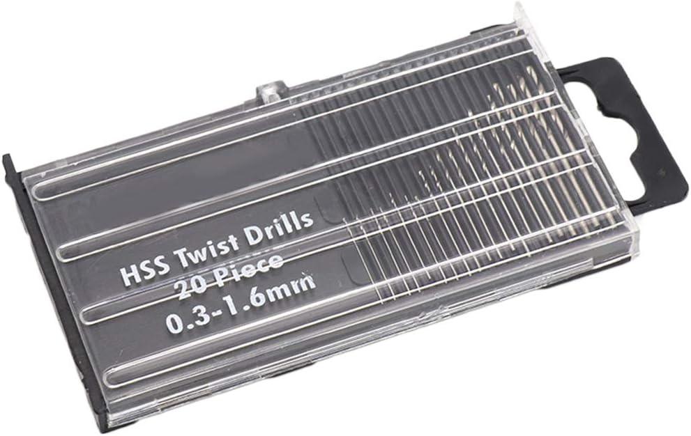 Set de la torcedura del HSS Brocas Mini Set Taladro de Mano Broca de torsi/ón Configure el Taladro de Bricolaje 0.3-1.6mm Herramienta Di/ámetro Chowcencen 20pcs