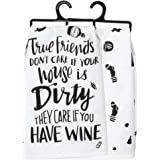 "Primitives by Kathy 33209 LOL Made You Smile Dish Towel, 28"" x 28"", True Friends"