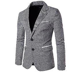 Mens Slim Fit Suit Single Breasted Wedding Suit Jacket Houndstooth Blazer