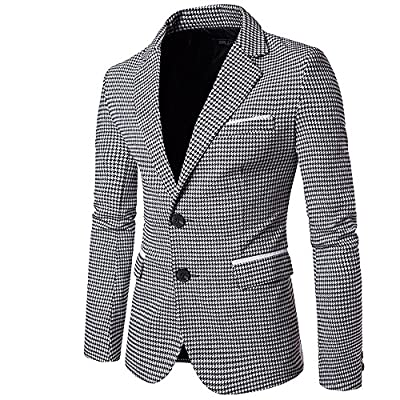 Mens Slim Fit Suit Single Breasted Wedding Suit Jacket Houndstooth Blazer