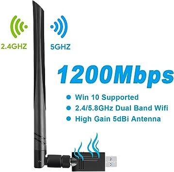 Gaoni Adaptador WiFi USB AC1200 Mbps con Doble Banda de 2.4GHz/5GHz,USB 3.0, Antena 5dBi,para PC/Desktop/Laptop, Compatible con Windows ...