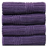 BC BARE COTTON Luxury Hotel & Spa Towel 100% Natural Turkish Cotton Ribbed Channel Pattern Bath (Set of 4), Plum