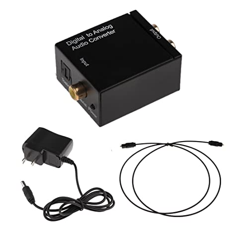 Fenteer RCA Analog to Digital Optical Toslink Coaxial Audio Adapter with Optical Cable- US