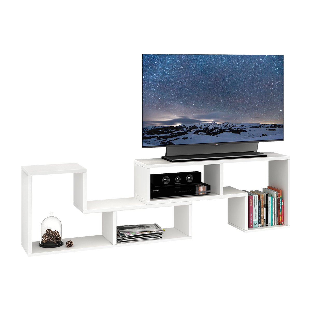 DEVAISE 3-in-1 Versatile TV Stand Bookcase Display Cabinet by White (0.9'' Thickness)