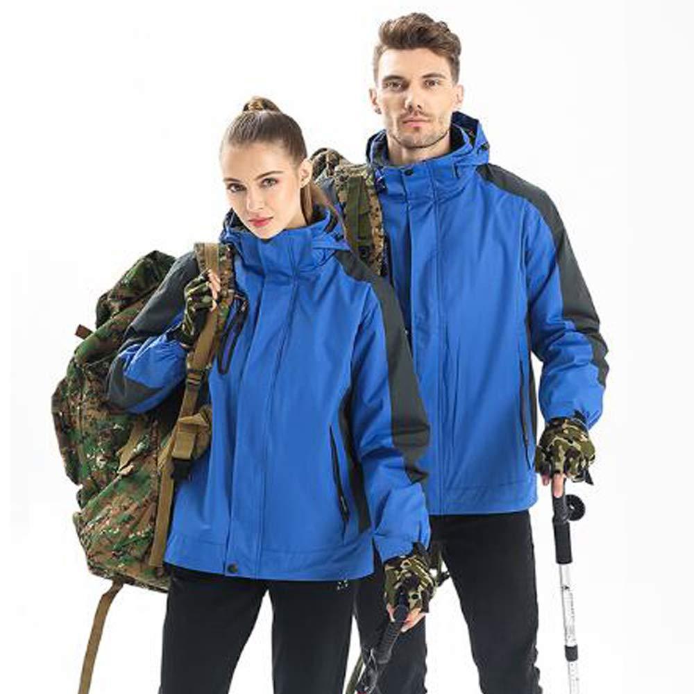 Herren Bergwinddichte warme Jacke, wasserdicht verdickt Fleece Ski Coldproof Sportbekleidung abnehmbare DREI-in-one Windjacke, Außenreitsportkleidung,Blau,XL