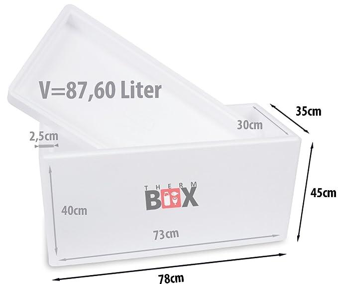 THERM BOX Caja de espuma de poliestireno con una tapa I Thermobox para alimentos y bebidas I Caja de espuma de poliestireno para refrigeración y ...