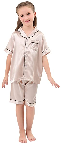 d3c005eb3d JOYTTON Kids Satin Pajamas Set PJS Short Sleeve Sleepwear Loungewear  Champagne