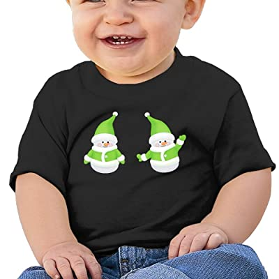 Christmas Cute Green Santa Claus Funny Cotton Soft O-neck Short Sleeves T-Shirt For 6-24 Months Baby Tees