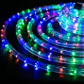 "WYZworks Multi-Color RGB 1/2"" Thick (10', 25', 50', 100', 150' option) PRE-ASSEMBLED LED Rope Lights - Christmas Holiday Decoration Lighting 