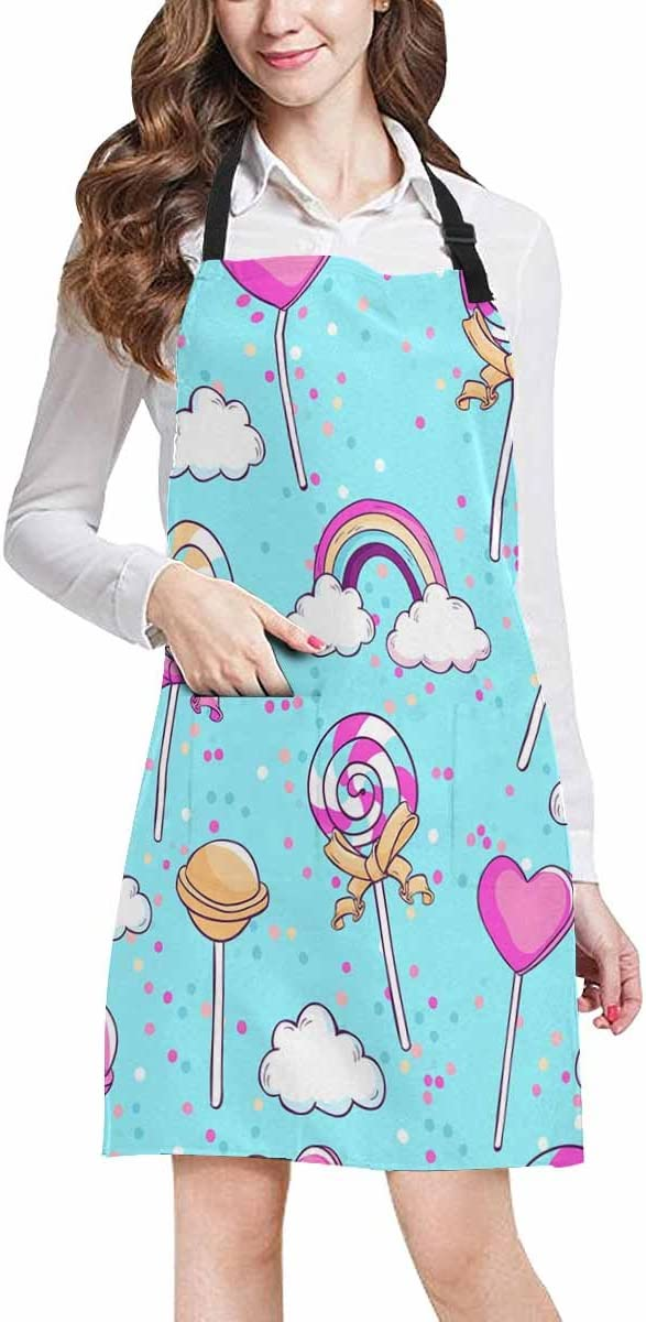 InterestPrint Adjustable Bib Apron for Women Men Girls Chef with Pockets Detailed Physical World Map Labeling Novelty Kitchen Apron for Cooking Baking Gardening Pet Grooming Cleaning