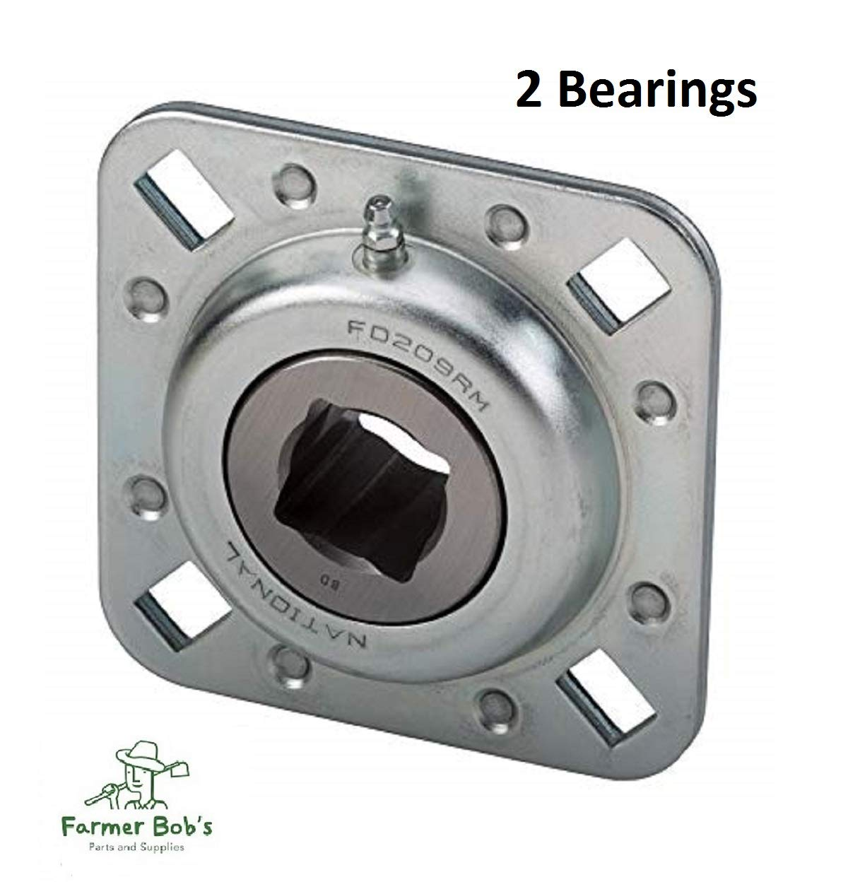 2 of Disc Harrow Bearings 1-1//8 Sq Bore 4-0.531 x 0.687 Bolt Holes /& 5 OAL Farmer Bobs Parts FD209RM