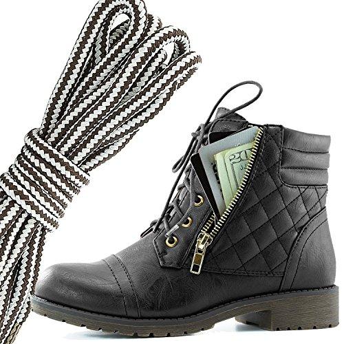 Dailyshoes Donna Militare Allacciatura Fibbia Stivali Da Combattimento Caviglia Alta Esclusiva Tasca Per Carte Di Credito, Marrone Scuro Grigio Nero Pu