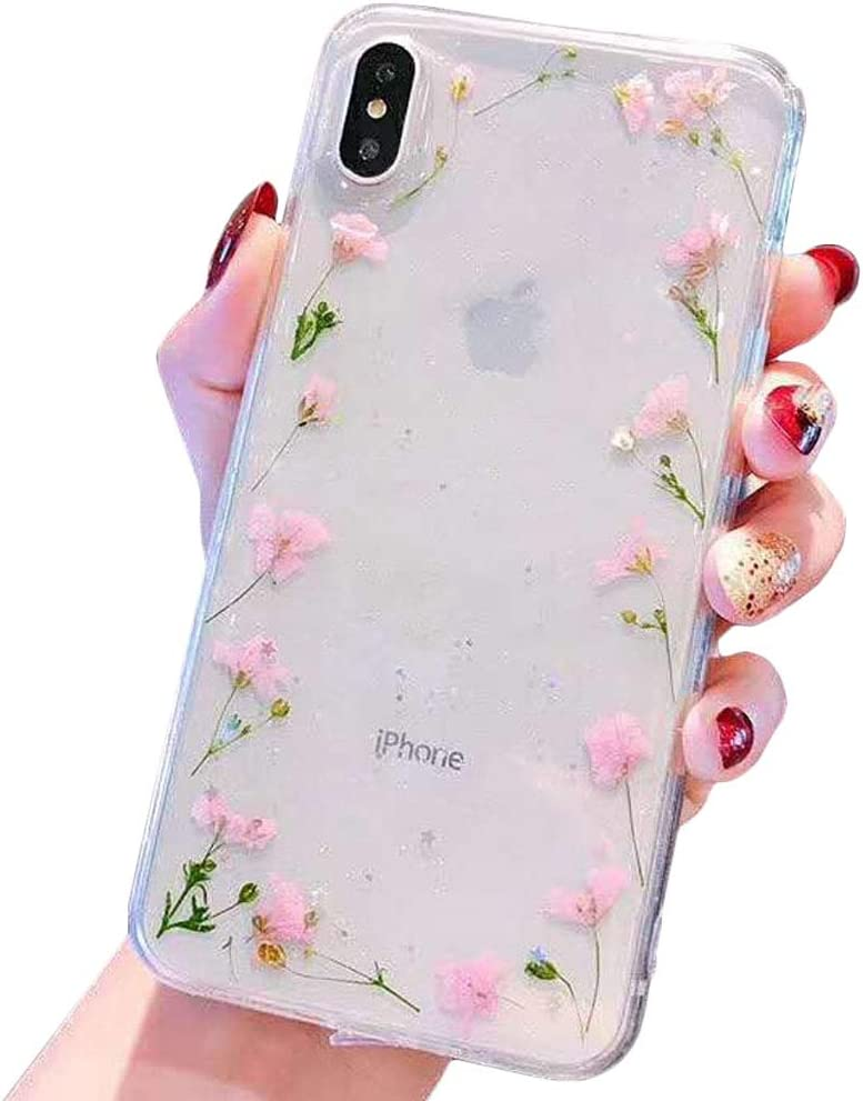KESTAR Flower Case for iPhone 8 Plus/iPhone 7 Plus, Soft Clear Flexible TPU Rubber Real Dried Flowers Case Glitter Floral Cover for iPhone 7 Plus/8 Plus (Pink Flower Frame)