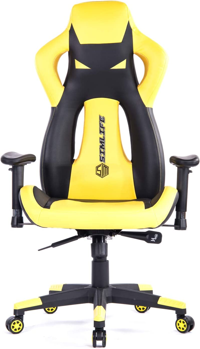 440 LBS Large Comptuer Gaming Chair, SimLife Tall Back Swivel Gaming Racing Chair with 135 Back Reclining Adjustable Height Armrest Home Office PC Chairs, Gifts for Boy