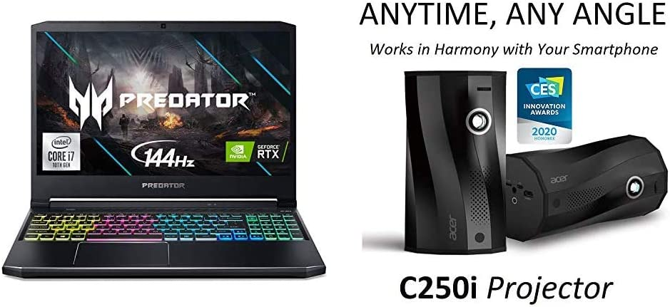 Acer Predator Helios 300 Gaming Laptop with C250i Anytime, Any Angle Full HD Projector with Auto Portrait Projection