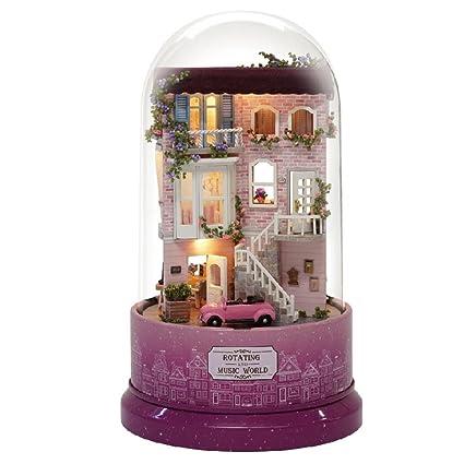 Cathy02Marshall DIY Kit de casa de muñecas Miniatura de Madera con luz LED Estuche de plástico