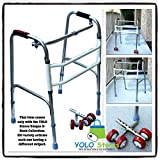 Folding Walker with Removable Wheels Heavy Duty Professional Up to 300lbs Adjustable Stepper New by YOLO Stores