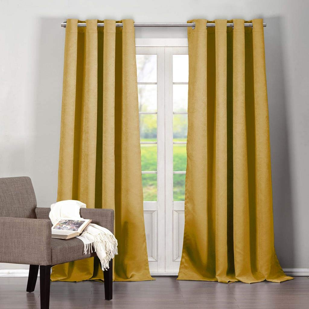 Duck River Textiles - Quincy Solid Faux Silk Textured Blackout Room Darkening Grommet Top Window Curtains Pair Panel Drapes for Bedroom, Living Room - Set of 2 Panels - 40 X 84 Inch - Mustard