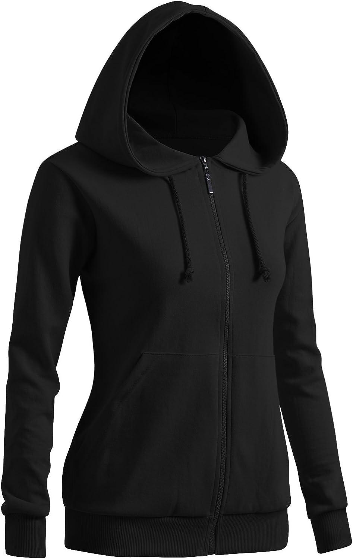 CLOVERY Women's Casual Zip-up Hoodie Basic Long Sleeve Hoodie: Clothing