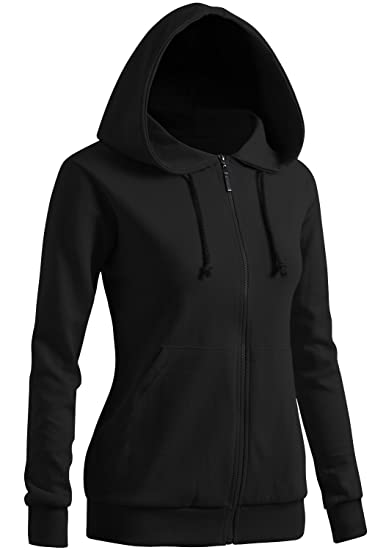 competitive price f9c22 8abe3 CLOVERY Women's Casual Zip-up Hoodie Basic Long Sleeve Hoodie