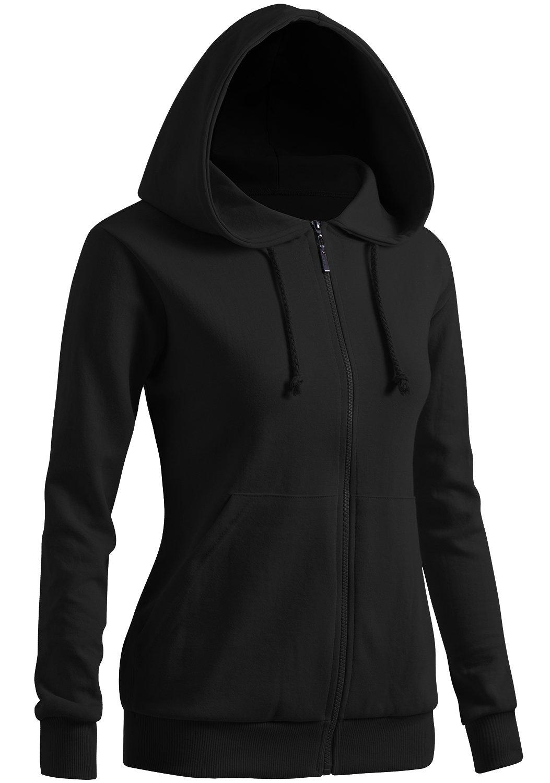 CLOVERY Women's Sport Long Sleeve Zipup Hoodie Black US L/Tag L