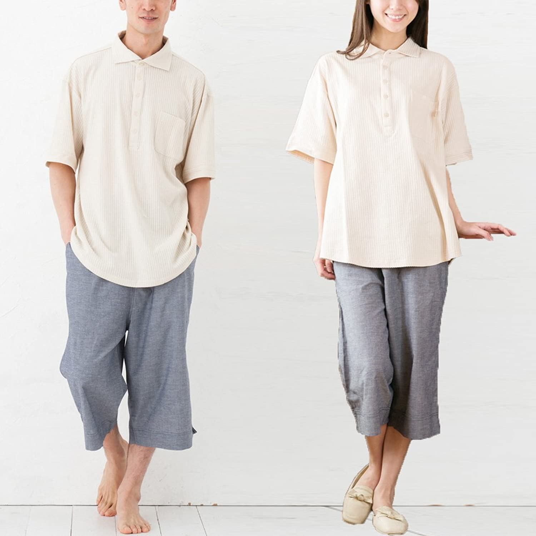 パジャマ屋 パジャマ 半袖 オフタイム セットアップ ユニセックス B00KLR3SH4  ベージュ×ダンガリーネイビー 男女兼用S(身長155cm~163cm)