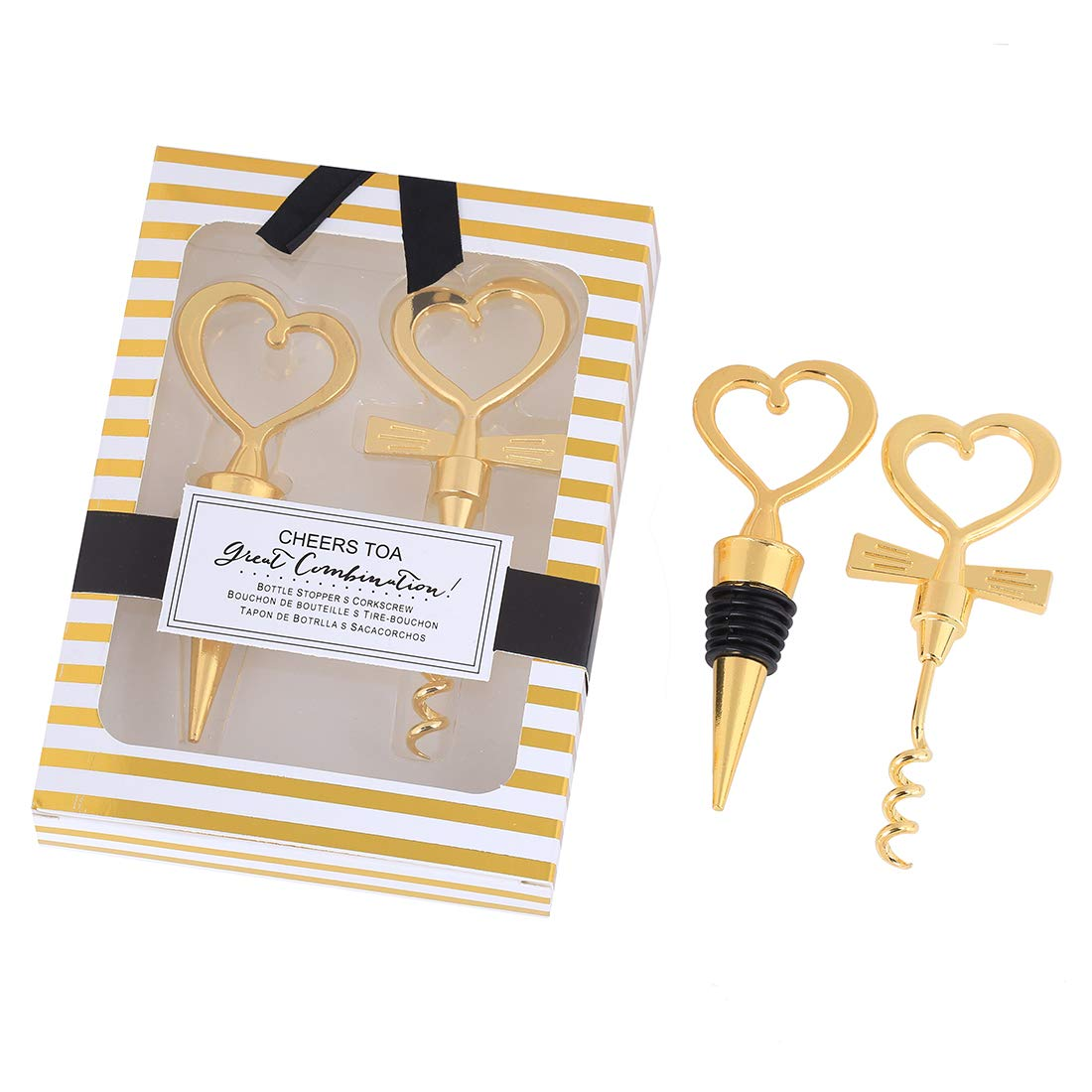 12 Pairs Gold Love Heart Wine Beverage Bottle Stopper and Corkscrew Opener Set,Wine Set for Souvenir Gift Wedding Party Favor Wine Promotion Gift by WeddParty (Gold)