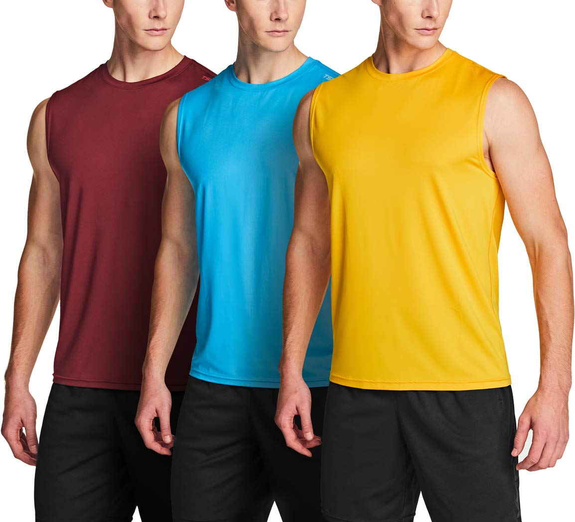 Performance Athletic Muscle Shirts TSLA 1 or 3 Pack Mens Sleeveless Running Tank Top Dry Fit Workout Gym Tank Tops