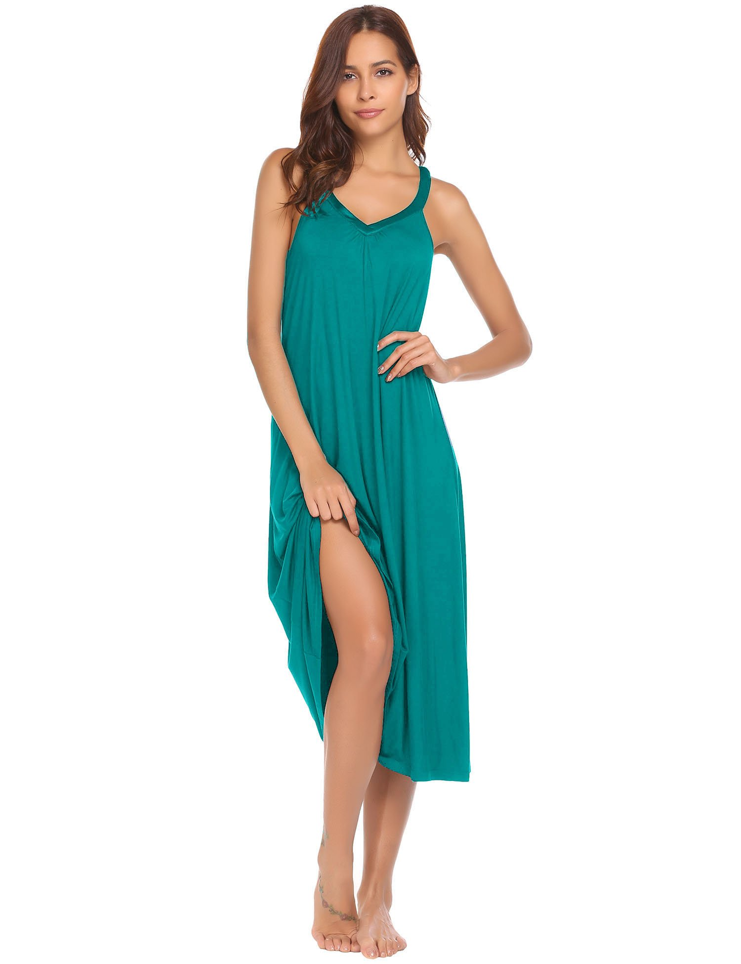Ekouaer Long Nightgown Women's Solid Sleeveless Nightshirts Sleepwear, 8358-peacock Blue, Small