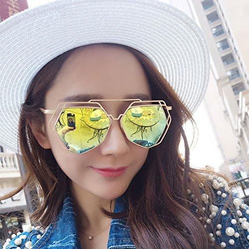 Polígono Negro hacia Gafas de Retro Metal de Verano Marco Color Viaje Ahueca Sunglasses de Aviador Fuera de Conducción de Moda Sol Amarillo LVZAIXI FX1w7TWxqt
