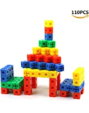 "Snap Cubes/Mathlink Cubes - Plastic Blocks Children Educational Counting Toy for Kids Early Learning 0.8"" 110Pcs(Random Color)"
