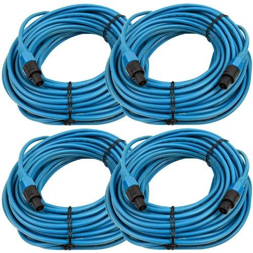 Seismic Audio TW12S100Blue-4Pack Four Pack of 12 Gauge 100-Feet Blue Speakon to Speakon Speaker Cable by Seismic Audio