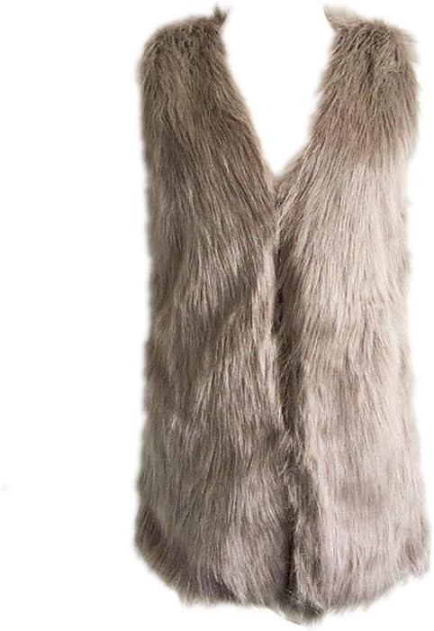 7a769b4d7d174 DMZing Women s Winter Warm Solid Plus Size Sleeveless Vest Lady Fluffy Faux  Fur Outwear Jacket (Khaki