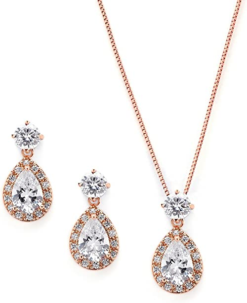FREE DOMESTIC SHIPPING Rose Gold Teardrop Bridal or Bridesmaids Necklace /& Earrings Set