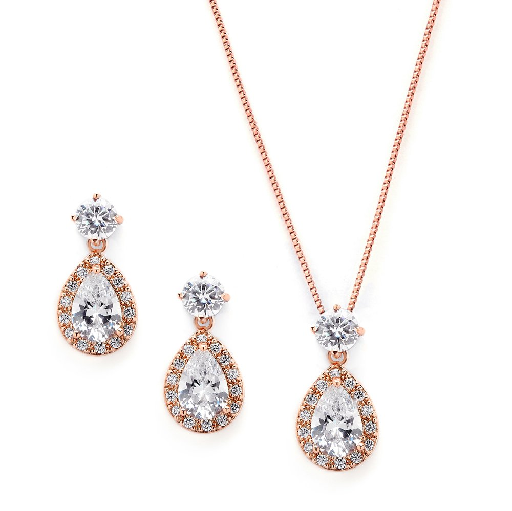 Mariell Rose Gold CZ Pear Shaped Necklace and Earrings Set - Wedding Jewelry for Brides & Bridesmaids