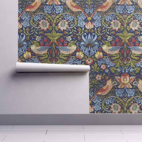 Removable Water-Activated Wallpaper - Victorian Victorian Floral Birds Victorian Arts and Crafts William Morris by Peacoquettedesigns - 24in x 96in Smooth Textured Water-Activated Wallpaper Roll