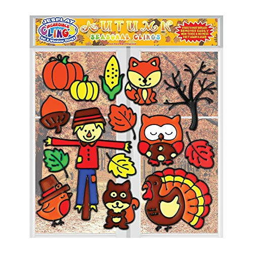 Thanksgiving Gel Clings - Flexible Reusable Gel Window Clings for Kids and Toddlers - Fall Gel Decals, Autumn Seasonal Decorations for Windows, Fridges, Planes, Teachers, and Classrooms -