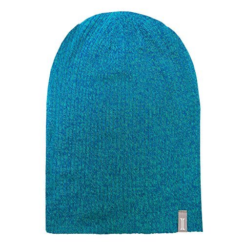 Igloos Girls Marled 4-in-1 Slouch Beanie, Peacock/Sapphire Marl, One Size (7-16)