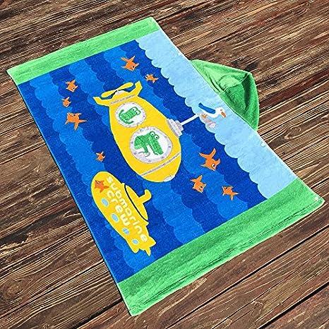 WDA Cartoon Cool Hooded Cloak Towels Animals Style Children's and Adults Bathrobe Beach Towel Spa Towels (Blue-Striped Whale) WDART
