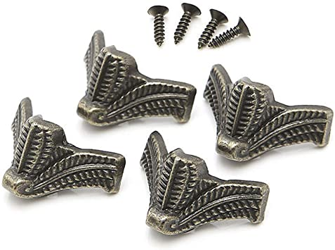 16 piezas de latón envejecido para joyería de madera de pecho, esquina decorativa de metal, patas de pierna, protector de esquina para cajas, tipo de pie de búho: Amazon.es: Bricolaje y herramientas