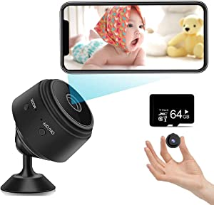 Hidden Mini Spy Camera (Include a 64G SD Card), with Audio and Video Live Feed WiFi Wireless Cameras, 1080P HD Nanny Cam with Night Vision Motion Detection for Home Bathroom Car (2021 New Version)